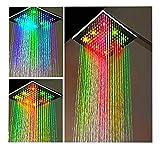 Große Duschkopf Regendusche LED Eckig -7 Farben- Starke Wasserturbine -Duschbrause Überkopfbrause