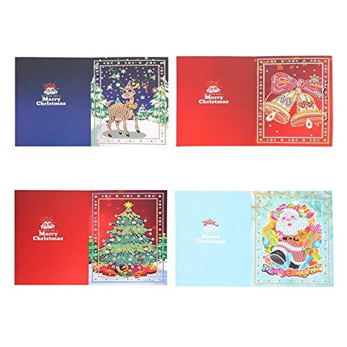 Weihnachtsgrußkarten, 5D DIY Sonderform Diamant Malerei Weihnachtsbaum Elch Bell Weihnachtsmann Kreuzstich Stickerei Mosaik Kit Handarbeiten Set