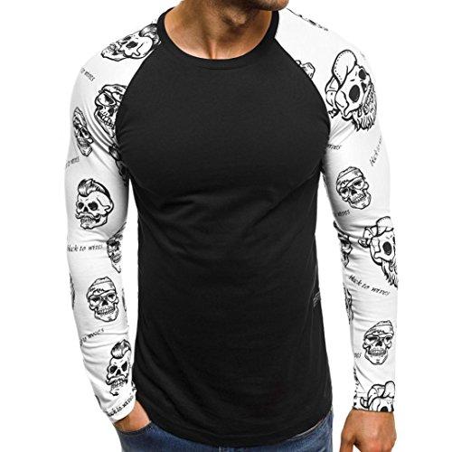 MEIbax Männer Casual Printed Letters Patchwork Langarmshirts Bluse,Herren Fitness-Shirt Adler Totenkopf 3D Bedruckte Longsleeve T-Shirt Tee...