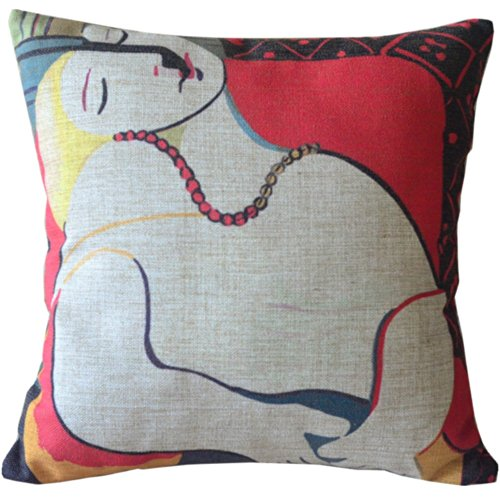 Colorful Picasso Imaginative Painting Woman Sofa Simple Home Decor Design Throw Pillow case/Taies d'oreillers Decor Cushion Covers Square 18*18 Inch Beige Cotton Blend Linen