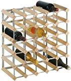 RTA 30-Bottle Ready-to-Assemble Wine Rack - Natural Pine / Galvanised Steel