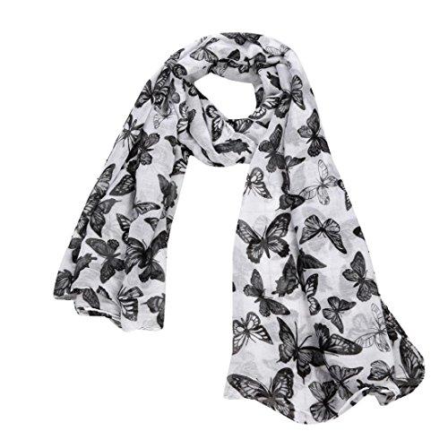 Internet Châle Foulard en Mousseline de soie Foulards Longue écharpe Belle Accessoire (Noir (90cm*180cm)) Internet_8810
