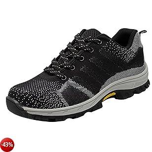COOU Scarpe da Lavoro Uomo Donna Antinfortunistica s3 con Punta in Acciaio Scarpe Sportive di Sicurezza Sneaker Unisex