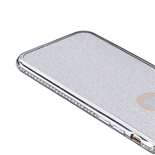 Cover rigida trasparente con liquido e brillantini, effetto 3D, per iPhone 6S Plus (2015) e iPhone 6Plus (2014) da 5,5 pollici, con 1 pellicola salvaschermo e 1 pennino capacitivo B Diamonds Silvery