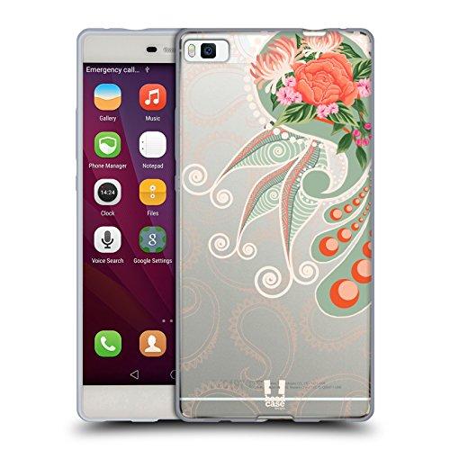 Head Case Designs Orange Paisley Chic 2 Soft Gel Hülle für Huawei P8 (Paisley Chic)