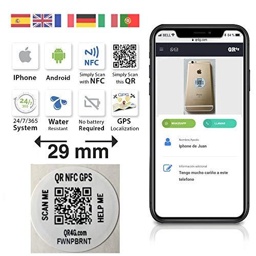 QR4G.com GPS: 3 Pegatinas identificativas inteligentes con tecnología QR NFC GPS (blanco)