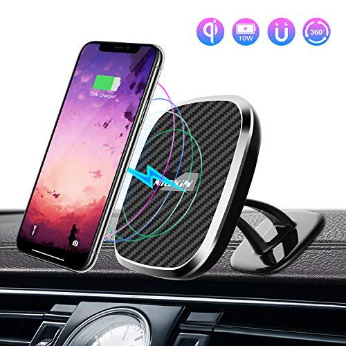 Nillkin Wireless Charger Auto, 10W Handyhalterung Lüftung 2 in 1 Induktive Ladestation Mit dem 360° drehbaren für iPhone 8/8Plus/X/XS/XR Samsung S10/S9/S8 Huawei Mate 20 Pro und Andere Qi Geräte