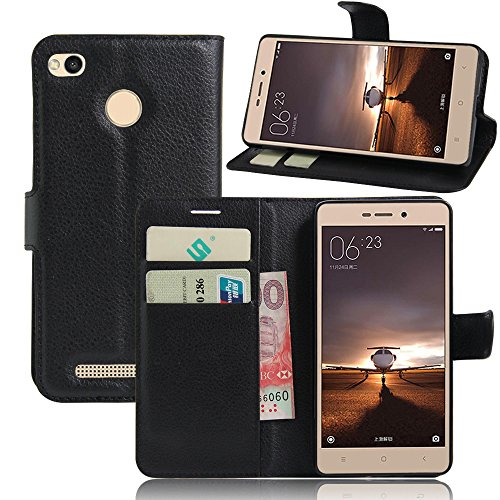 ECENCE Handyhülle Schutzhülle Case Cover kompatibel für Xiaomi Redmi 3 Pro / 3s / 3s Handytasche Schwarz 22040309