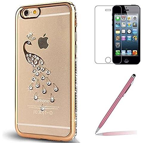 Custodia iPhone SE/5/5s [Pellicola Protettiva in Vetro Temperato], Yoowei® Chiaro