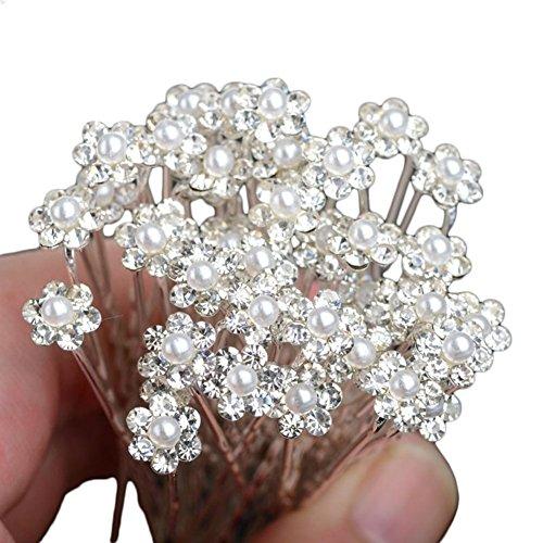 Lumanuby Paquete de 20 horquillas para el pelo con flores de diamantes y perlas accesorio de cabello para bodas o fiestas