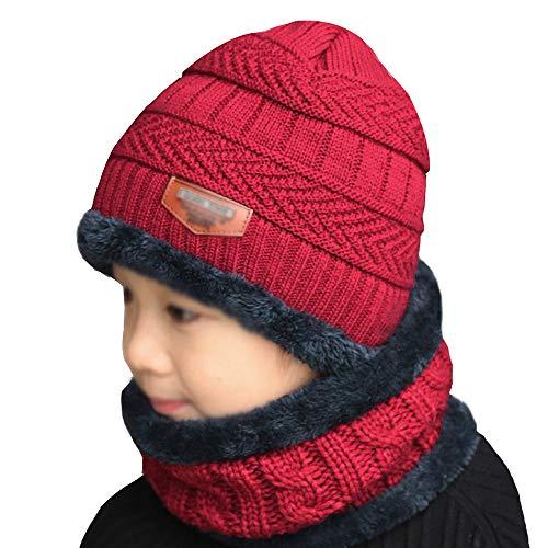 LA HAUTE Baby Mädchen Jungen Wintermütze Schal Wolle Ohrenklappe Schal mit Kapuze Schal Totenkopf Caps, Kinder, wj-03073-02YHH, weinrot