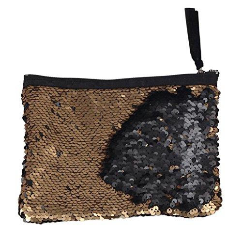 Doppel-brieftasche (Malloom® Frauen Doppel Farbe Pailletten Brieftasche Kartenhalter Geldbörse (A))