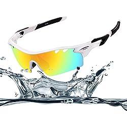 Ewin E11 Gafas de Sol de Deporte Polarizadas, 4 Lentes Intercambiables, TR90 Marco Irrompible, Antiniebla, Lentes Impermeables Gafas (Blanco y Negra)