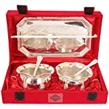 Indian Art Villa Silver Plated Bowl Set With Embossed Tray And 2 Spoon, 300 Ml Each, Service For 2