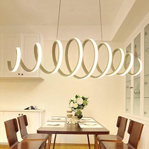 Lampadari moderna e minimalista led lampadari a sospensione con paralume in spirale metallo lampada 88w 3000 kelvin bianco caldo, metallo e pc lampadario moderno, lampadario sospeso