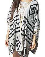 Coffetime-Damen Elegant Large Size Loose Knitwear 3/4 Sleeve Strickjacke Sweater