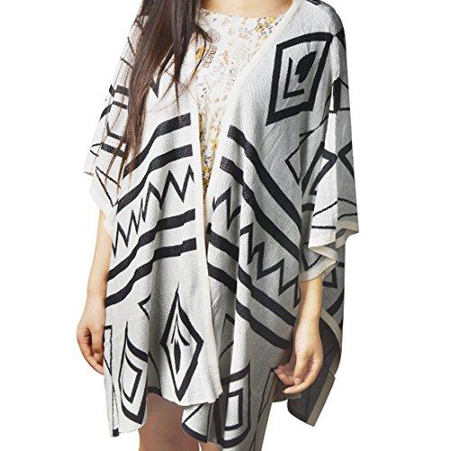 Coffetime-Damen Elegant Large Size Loose Knitwear 3/4 Sleeve Strickjacke Sweater (Strickjacke 4 3 Sleeve)