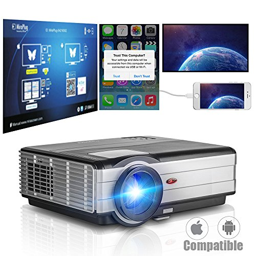Smartphone HD Projector Home Video-4000 Lumen LED LCD 1080p Game Projector 2017...