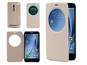 ISIN Housse pour Téléphones Portables Série Étui Premium PU pour ASUS Zenfone 2 ZE551ML ZE550ML de 5.5 pouces Full HD Android Smartphone (Or)