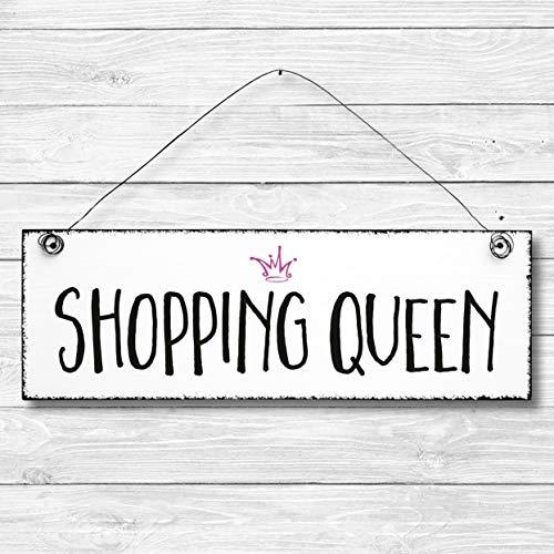 Shopping Queen - Dekoschild Türschild Wandschild aus Holz 10x30cm - Holzdeko Holzbild Deko Schild