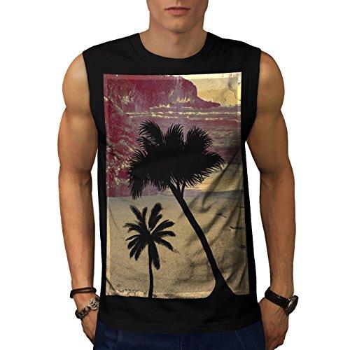 summer-time-beach-palm-trees-men-new-black-l-sleeveless-t-shirt-wellcoda