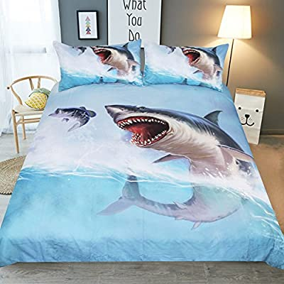 Bedding Set Swimming Shark 3D Print Duvet Cover Set Bed Sheet 2 persons 100% Polyester Soft Quilt Duvet Cover Include Pillowcases For Children's Bedroom Luxury Style 3 Pieces King Size