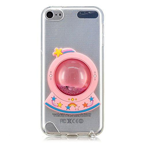 Shinyzone iPod Touch 5 Kristall klar Hülle,Schwimmend Flüssigkeit Bling Glitzer Handyhülle für iPod Touch 6,Kreative 3D Lustig Niedlich Fließen Treibsand Weich TPU Bumper Stoßfest Schutzhülle,Regenbogen