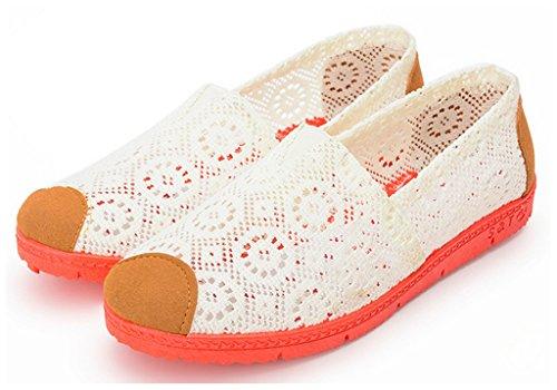 NEWZCERS Arbeiten Sie beiläufige Segeltuch Blumepumpen Ebene Schuhe für Frauen um Weiß