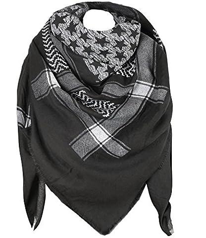 caripe XXL großer Damen Schal quadratisch Halstuch oversized Punkte Paisley Anker Sterne - PS (One Size, STern-9321 - schwarz-grau)