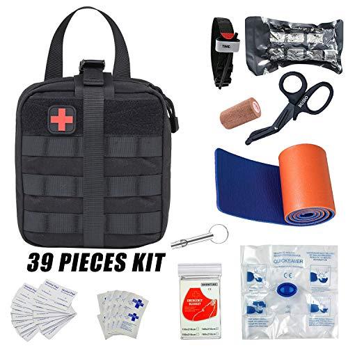 GRULLIN Botiquín Primeros Auxilios,Kit Supervivencia Emergencia-Bolsa MOLLE Tactico,Torniquete,Tijera Enfermeria,Vendaje Israeli,Manta Termica,CPR Mask,Splint (Black)