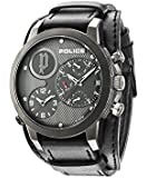Police Anaconda Men's Quartz Watch with Black Dial Analogue Display and Black Leather Cuff 14188JSU/61