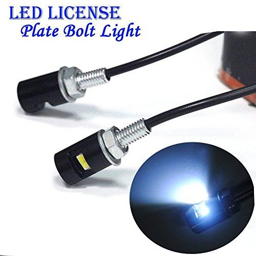 Fengh 12V LED Kennzeichenbeleuchtung Lampen Leuchtmittel Bolt Schraube für Motorrad/Auto _ (weiß LED-Licht)