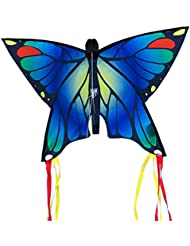 CIM Butterfly Kite - Butterfly Blue - Kite for children 3 years onward - 58x40cm - incl. 20m flying line - with 195cm bow tails