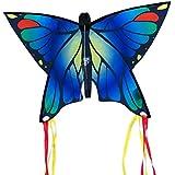 Cerf-volant papillon - Butterfly Blue – Cerf-volant monofil pour enfants à partir de 3 ans - 58x40cm – incl. ligne de 20ml – avec queues courbées de 195cm