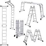 [UK Stock] Cravog 3.7M Multi Purpose Aluminum Folding Telescopic Fold Ladder Extendable + 2 Panels
