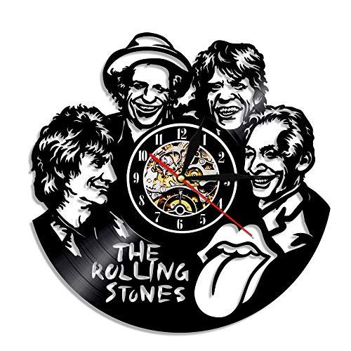 YUN Clock@ The Rolling Stones Wanduhr aus Vinyl Schallplattenuhr Upcycling 3D Design-Uhr Wand-Deko Vintage Familien Zimmer Dekoration Kunst Geschenk, Durchmesser 30 cm