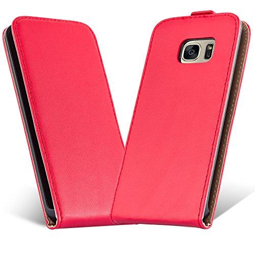 Preisvergleich Produktbild Samsung Galaxy S7 Flip Hülle in ROT von Cadorabo - Handyhülle in Kunstleder Case Cover Schutzhülle Etui Tasche in CHILI ROT