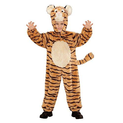 Widmann 98112 - Kinderkostüm Tiger aus Plüsch, Overall mit Kapuze und Maske