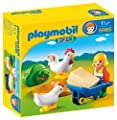 Playmobil 1.2.3. - 6965 - Agricultrice avec brouette et coq