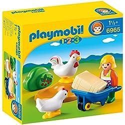 Playmobil 1.2.3 - 1.2.3 Granjera con Gallinas (6965)