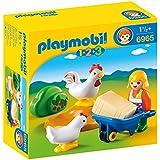 Playmobil 1.2.3. - 6965 - Agricultrice avec brouette et coq