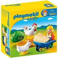 Playmobil 1.2.3-1.2.3 Granjera con Gallinas (6965)