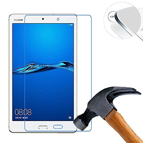 Lusee 2 x Pack Panzerglasfolie Schutzfolie für Huawei MediaPad M3 Lite s 8.0 Zoll Bildschirmschutz Tempered Glass Folie Screen Protector Panzerfolie Glasfolie 0,3 mm 9H Clear 2.5D