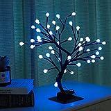 Lewondr Albero Bonsai, Bonsai in Germogli in Ferro con 48 Luci LED, 3 Batterie Albero Decorazione Camera, Tavolo,scrivania, Soggiorno - Blu, Bianco