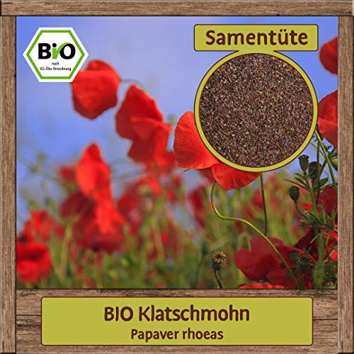 Hochwertige Blumen und Stauden Samen Saatgut für Blumenwiese bienenfreundliche blühende Pflanzen für Bienenweide, Sorte:BIO Klatschmohn
