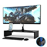 1home Wood Monitor Stand TV PC Laptop Computer Screen Riser Desk Storage Black, W540 x D255 x H104mm (with Smartphone Holder and Cable Management)