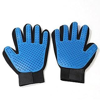 Topways 2 Stück Haustier Massagehandschuh Bürste Fellpflege-Handschuh - Handschuh Pflegenbürste zur einfachen Entfernung Loser - für Hund & Katze (Blau Aufgerüstete)