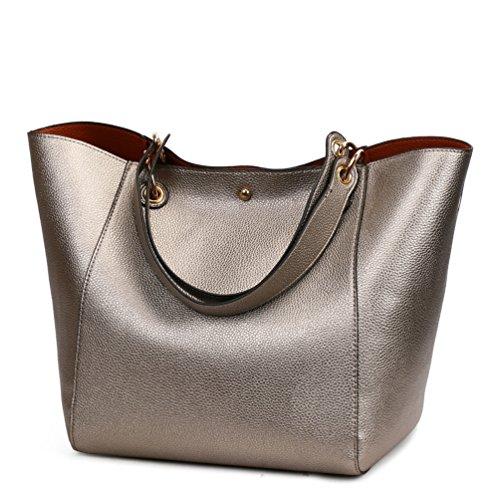 Borse Donna Pelle Semplice borsetta Pelle artificiale Moda impermeabile Grande Capacità Argento