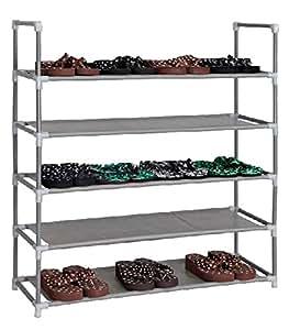 schuhregal f r 20 paar schuhe 86x29x89cm elegante verbindung von stahl und stoff. Black Bedroom Furniture Sets. Home Design Ideas