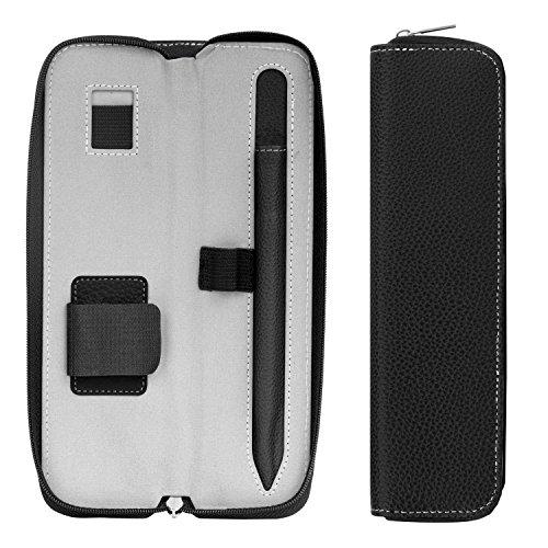 MoKo Hülle für Apple Pencil - Premium PU Leder Tasche Stiftschlaufe Stift Schleife Sleeve Cover Schreibzeug Schreibgerät Beutel mit eingabauter Tasche und Halter, Schwarz -